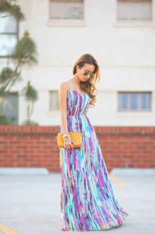 fashion blogger, petite fashion blog, fashionista, lace and locks, los angeles fashion blogger, colorful maxi dress, bb dakota maxi, tory burch yellow clutch, fashionista, spring maxi