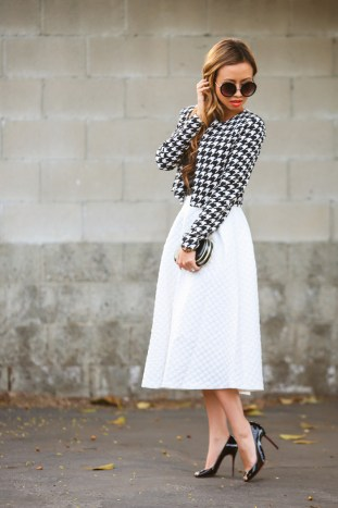 fashion blogger, petite fashion blog, topshop midi skirt, white skirt, houndstooth jacket, crop jacket, box clutch, black and white outfit, christian louboutin shoes, lace and locks, los angeles fashion blogger, petite fashion blogger, fashionista, streetstyle, outfit of the day, asian fashion blogger, affordable fashion