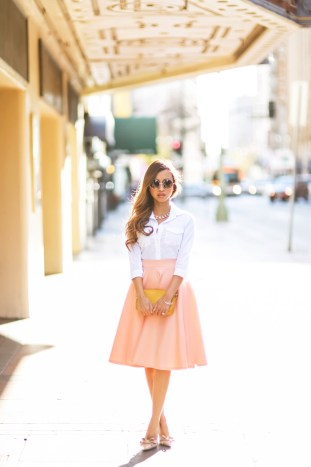 etite fashion blogger, petite fashion blog, fashionista, lace and locks, los angeles fashion blogger, asos skirt, peach skirt, full skirt,vietsun magazine, vietnamese fashion blogger, spring fashion, ace hotel los angeles, affordable fashion,streetstyle