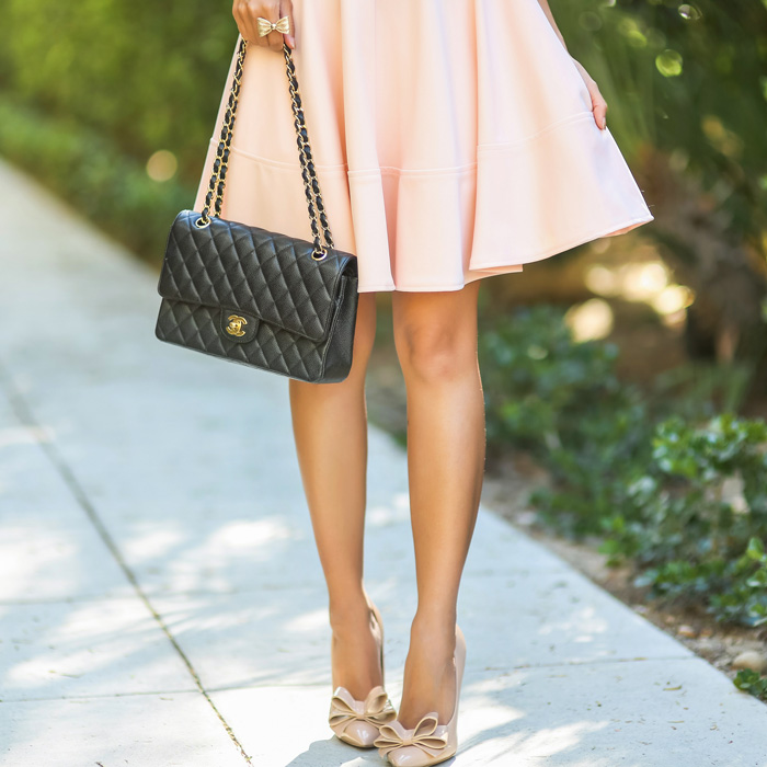 fashion blogger, petite fashion blog, fashionista, lace and locks, los angeles fashion blogger, lulus dress, pink fit and flare dress, bow pumps, morning lavender boutique, morning lavender jewelry, affordable fashion, chanel handbag