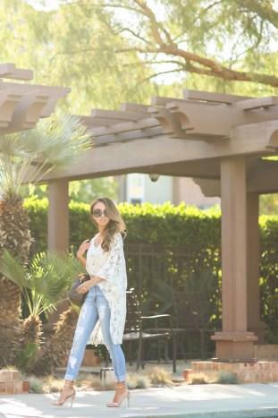 fashion blogger, petite fashion blog, fashionista, lace and locks, los angeles fashion blogger, boyfriend jeans, morning lavender boutique, lace kimono, steve madden stecy sandal,