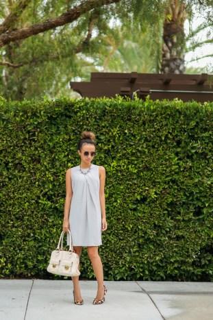 fashion blogger, petite fashion blog, fashionista, lace and locks, los angeles fashion blogger, gray shift dress, leopard pumps, liberty sage, marc jacobs satchel