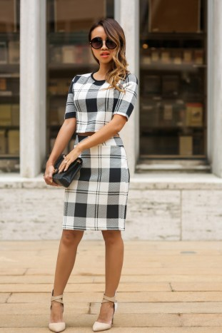 fashion blogger, petite fashion blog, lace and locks, los angeles fashion blogger, nyc fashion blogger, morning lavender plaid, matching top and skirt, fall plaid