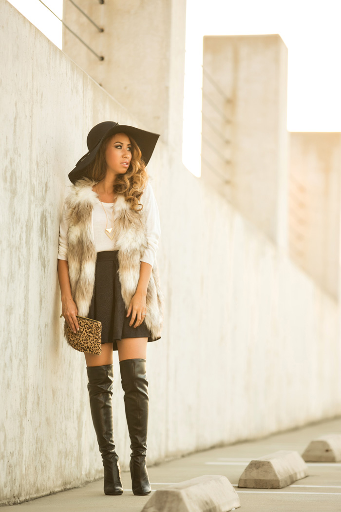 fashion blogger, petite fashion blog, lace and locks, los angeles fashion blogger, morning lavender, faux fur vests, fall fashion, black floppy hat, streetstyle