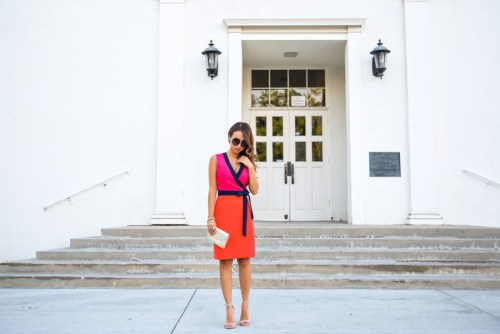 petite fashion blog, lace and locks, los angeles fashion blogger, morning lavender, dvf wrap dress, diane von furstenberg, streetstyle, colorful dress