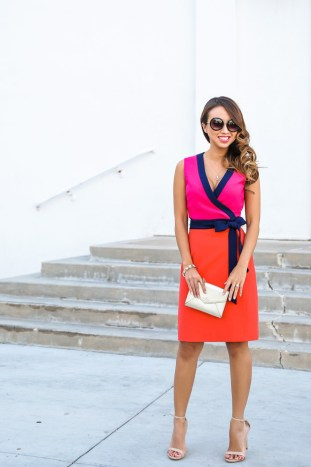petite fashion blog, lace and locks, los angeles fashion blogger, morning lavender, dvf wrap dress, diane von furstenberg, streetstyle, colorful dress