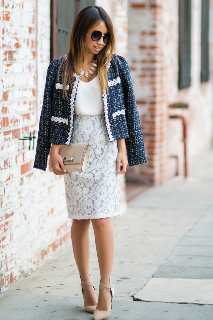 petite fashion blog, lace and locks, los angeles fashion blogger, sale, morning lavender, lace skirt, tweed jacket, office fashion, streetstyle, kate spade bow clutch