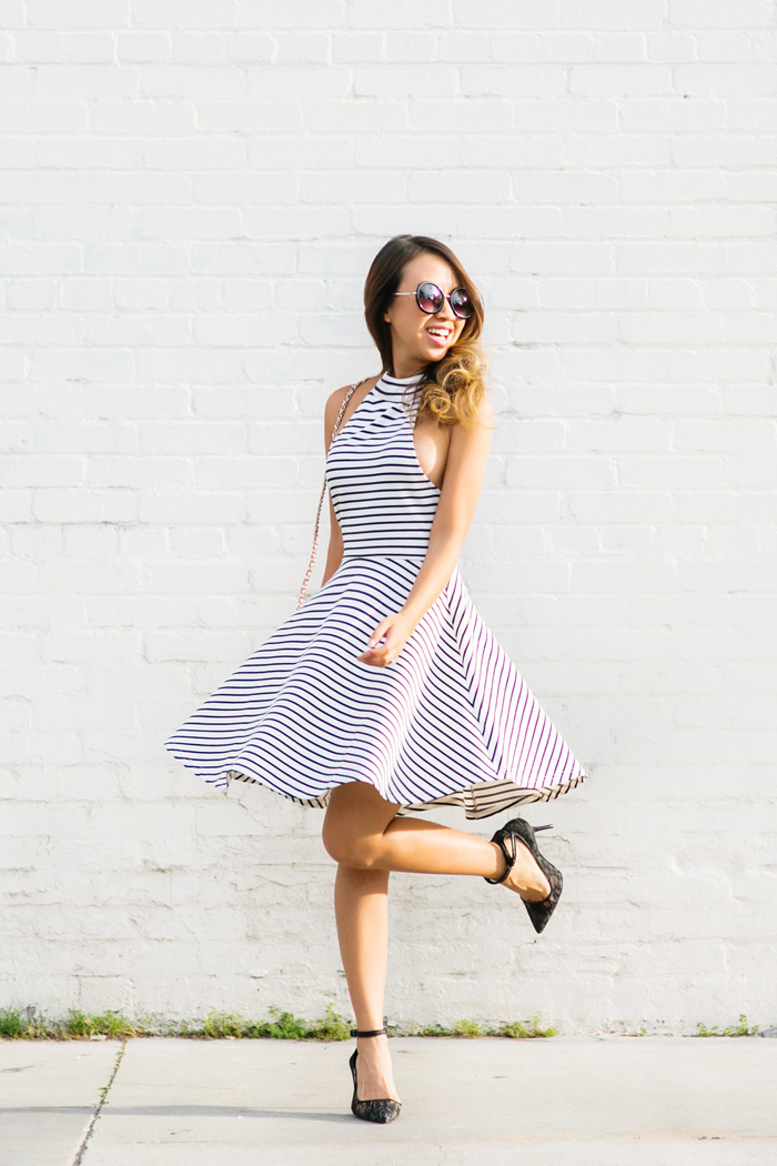 petite fashion blog, lace and locks, los angeles fashion blogger, stripe fit and flare dress, lace ankle pumps, pink tory burch, feminine fashion