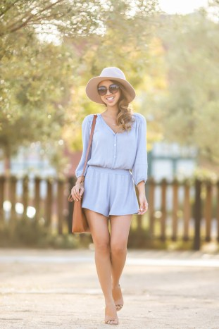 petite fashion blog, lace and locks, los angeles fashion blogger, spring blue romper, morning lavender romper, spring fashion, madewell handbag, brown mules shoes
