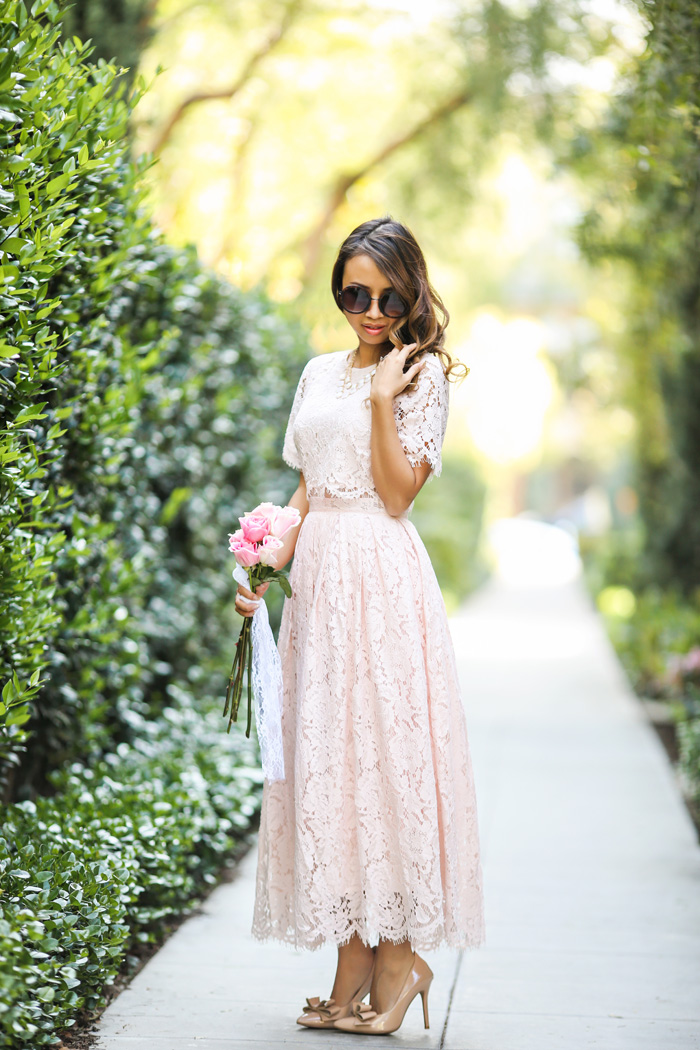 petite fashion blog, lace and locks, los angeles fashion blogger, lace midi dress, lace prom dress, asos lace dress, blush lace dress