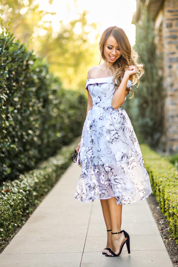 petite fashion blog, lace and locks, los angeles fashion blogger, spring fashion, off the shoulder dress, floral dress, asos dress, wedding guest dress