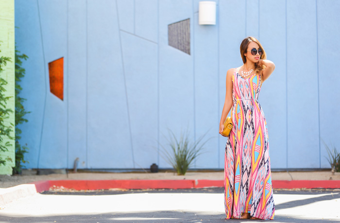 petite fashion blog, lace and locks, los angeles fashion blogger, spring fashion, morning lavender boutique, spring maxi dress, colorful maxi dress, lucy paris maxi dress