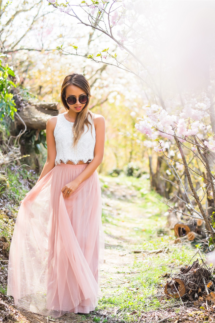 petite fashion blog, lace and locks, los angeles fashion blogger, tulle skirts for women, morning lavender tulle, tulle maxi skirt, japan cherry blossoms, japan fashion blogger