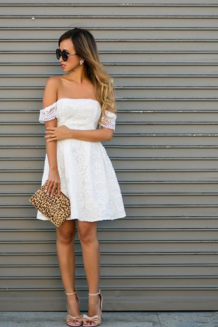 petite fashion blog, lace and locks, los angeles fashion blogger, off the shoulder dress, stylestalker dress, summer dress, fit and flare dress, kay unger shoes, bow heels