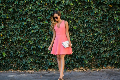 petite fashion blog, lace and locks, los angeles fashion blogger, scallop dress, summer fashion, urban outfitters dress, ysl clutch, leopard heels