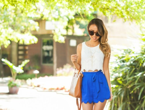 petite fashion blog, lace and locks, los angeles fashion blogger, scallop shorts, morning lavender boutique, lace tops, casual looks