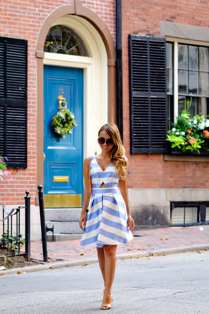 petite fashion blog, lace and locks, los angeles fashion blogger, stripe dress, fit and flare dress, topshop dress, fourth of july fashion
