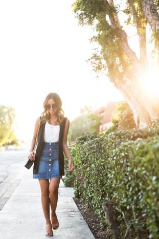 petite fashion blog, lace and locks, los angeles fashion blogger, sleeveless blazer, asos blazer, denim button down skirt, brown mules, streetstyle