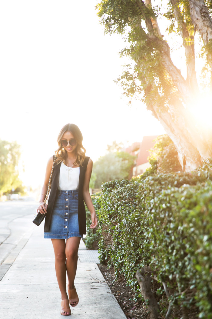 petite fashion blog, lace and locks, los angeles fashion blogger, sleeveless blazer, asos blazer, denim button down skirt, brown mules, streetstyle
