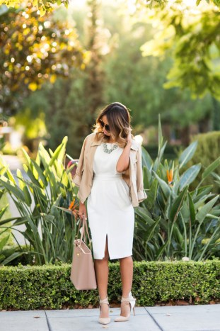 petite fashion blog, lace and locks, los angeles fashion blogger, asos dress, office fashion, fall fashion, neutral fashion, ann taylor jacket