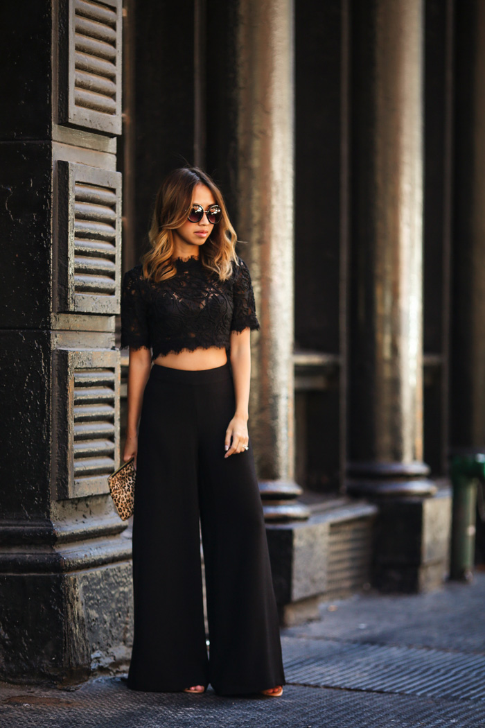 petite fashion blog, lace and locks, los angeles fashion blogger, wide leg pants, nyfw fashion, niece streetstyle