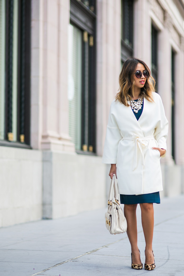 petite fashion blog, lace and locks, los angeles fashion blogger, office outfit ideas, work dresses for women, fall fashion, white winter coat
