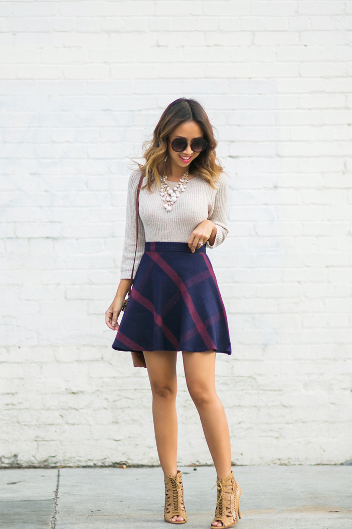 petite fashion blog, lace and locks, los angeles fashion blogger, morning lavender shop, fall fashion, cute plaid skirt for women