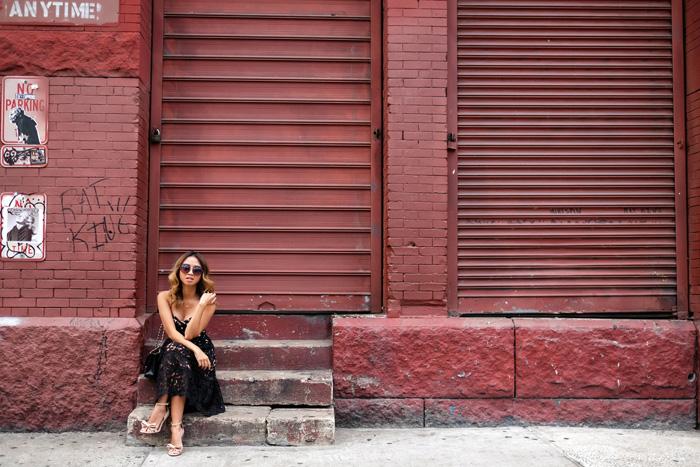 petite fashion blog, lace and locks, los angeles fashion blogger, lace midi dress, black lace dress, morning lavender dress, nyfw dress, reward style dress
