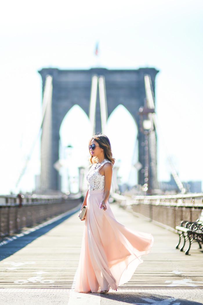 petite fashion blog, lace and locks, los angeles fashion blogger, pink maxi skirt, morning lavender skirt, new york fashion. brooklyn bridge fashion