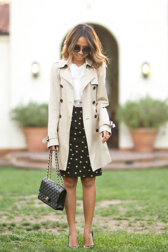 petite fashion blog, lace and locks, los angeles fashion blogger, lace midi dress, polka dot skirt, trench coat, bow blouse