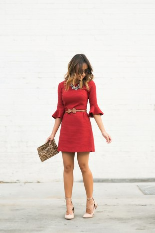 petite fashion blog, lace and locks, los angeles fashion blogger, lace midi dress, topshop red dress, lace up ballerina flats, zara flats, bell sleeve dress