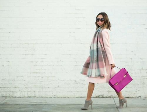 petite fashion blog, lace and locks, los angeles fashion blogger, fall pink coat, fall fashion ideas, plaid blanket scarf, fall pastels, henri bendel
