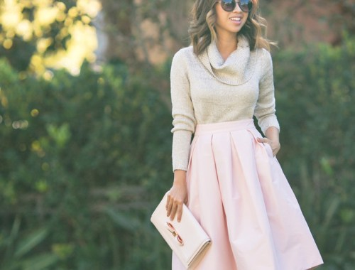 pink midi skirt, lace and locks, petite fashion blogger, holiday outfit, feminine outfit, cowlneck sweater