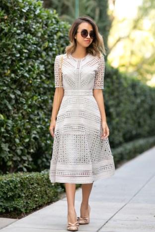 petite fashion blog, lace and locks, los angeles fashion blogger, lace midi dress, asos lace dress, feminine fashion, romantic fashion, bow heels, ysl white clutch