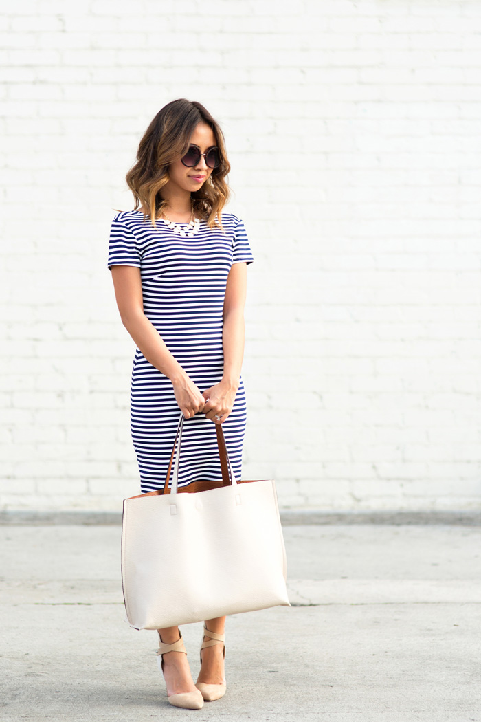 petite fashion blog, lace and locks, los angeles fashion blogger, stripe sheath dress, reversible ivory tote, streetstyle, stripe outfit, cute stripe dress