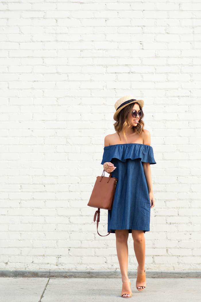 petite fashion blog, lace and locks, los angeles fashion blogger, morning lavender boutique, off the shoulder denim dress, cute casual dresses