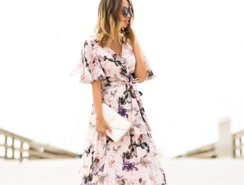 petite fashion blog, lace and locks, los angeles fashion blogger, pleated floral maxi dress, pink maxi dress, feminine fashion, romantic fashion, caged heels, ysl white clutch