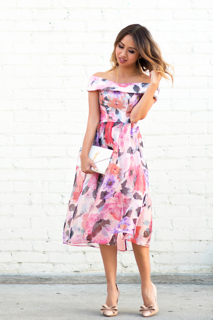 lace and locks petite fashion blogger floral off the shoulder dress ... b72ce4c28
