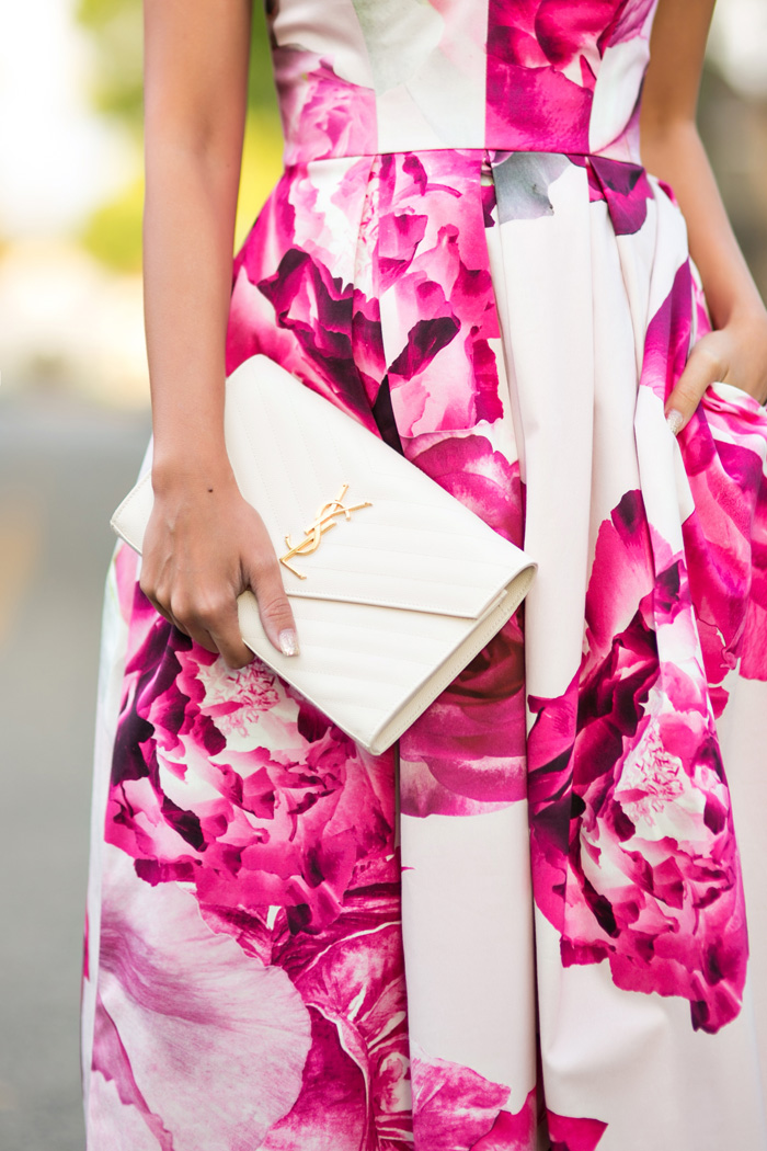 petite fashion blog, lace and locks, los angeles fashion blogger, strapless floral dress, wedding guest dress, spring fashion, ysl white clutch
