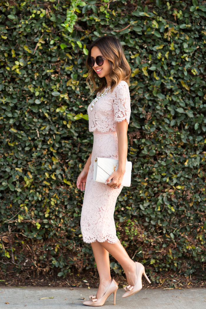 petite fashion blog, lace and locks, los angeles fashion blogger, lace midi dress, pink lace midi dress, feminine fashion, romantic fashion, bow heels, ysl white clutch