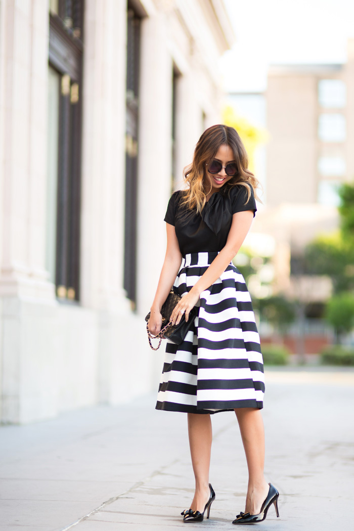 petite fashion blog, lace and locks, los angeles fashion blogger, striped midi skirt, black and white stripe skirt, bow heels, feminine fashion, midi skirt outfits