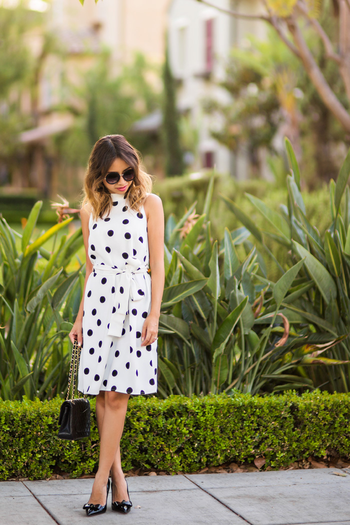 petite fashion blog, lace and locks, los angeles fashion blogger, ann taylor polka dot dress, bow heels, cute spring outfits