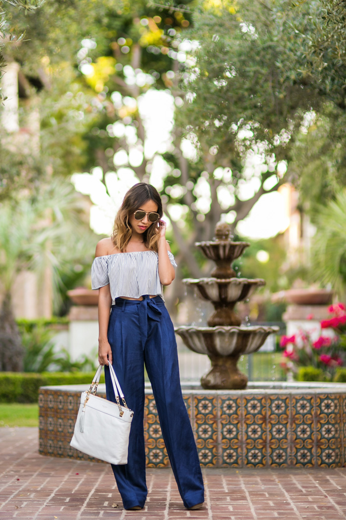 petite fashion blog, lace and locks, los angeles fashion blogger, stripe off the shoulder top, morning lavender cute tops, wide leg pants, banana republic spring outfits, cute spring outfits