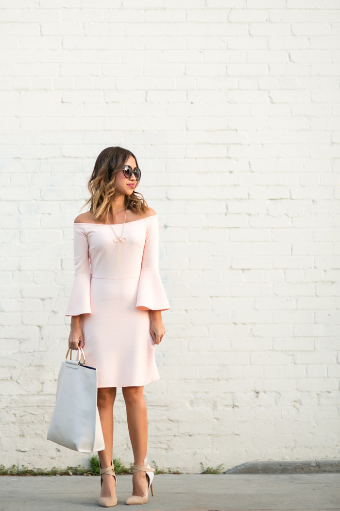 petite fashion blog, lace and locks, los angeles fashion blogger, bell sleeve dress, urban outfitters dress, cute spring outfits