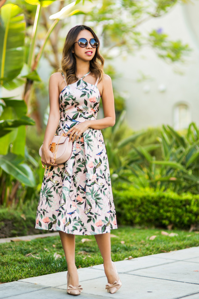 ace and locks, petite fashion blogger,floral midi dress, wedding guest dress, bow pumps, spring dresses, asos petite dress