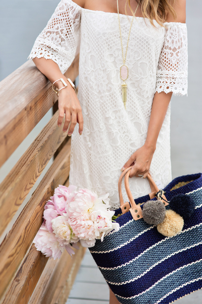 petite fashion blog, lace and locks, los angeles fashion blogger, kendra scott tassel necklace, sole society wedges, mar y sol tote, cute summer outfit, off the shoulder lace dress, nordstrom collaboration
