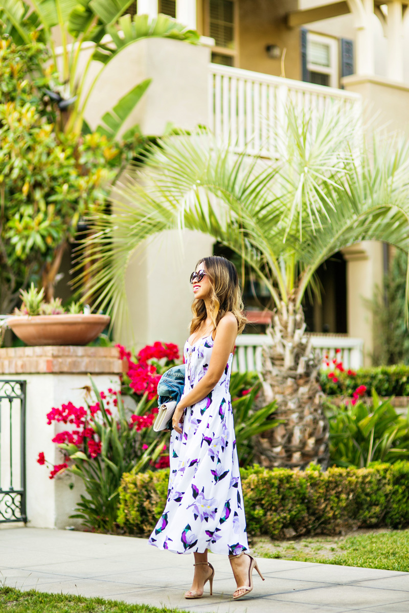 petite fashion blog, lace and locks, los angeles fashion blogger, banana republic dress, floral midi dress, spring time outfit