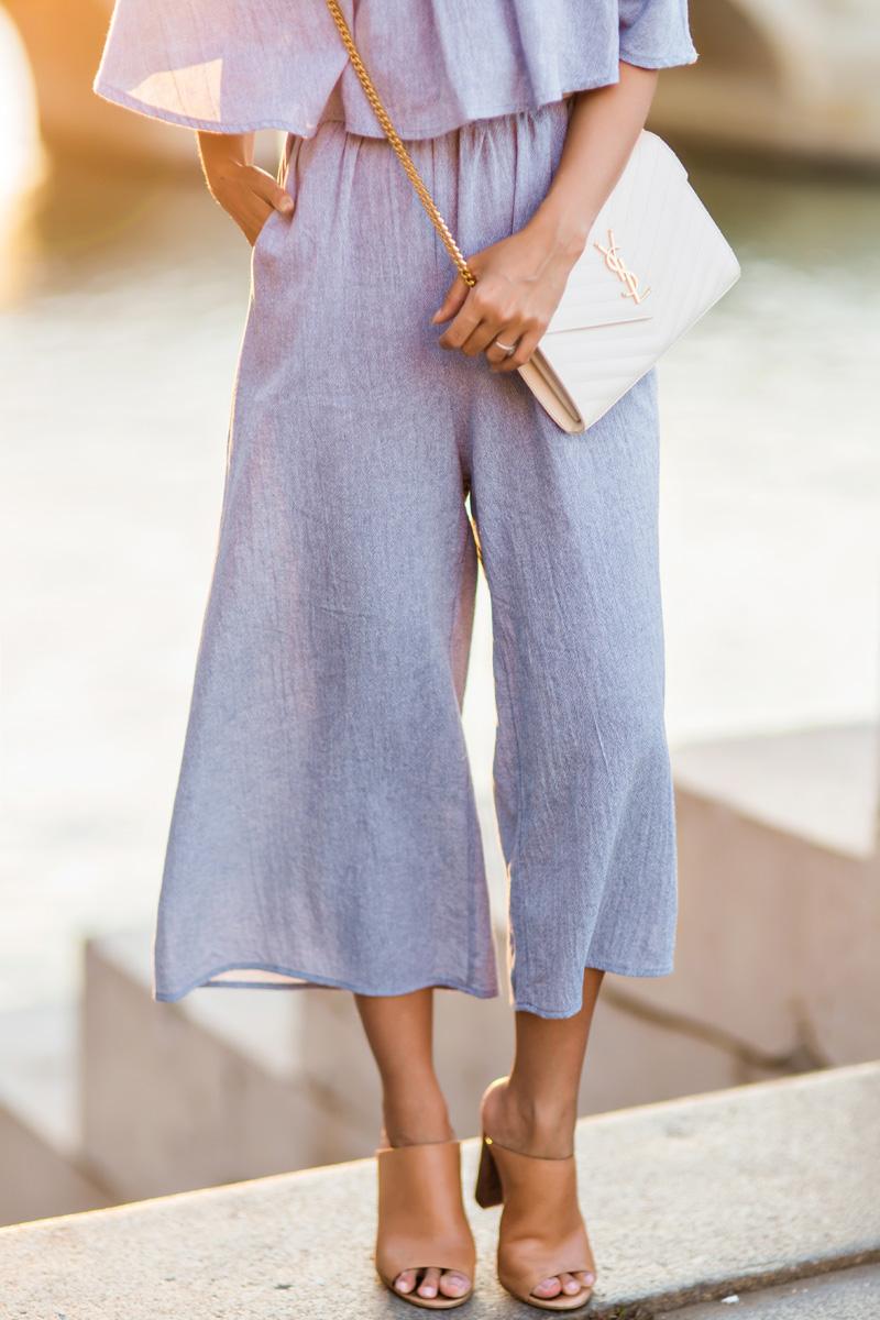 petite fashion blog, lace and locks, morning lavender, off the shoulder jumpsuit, culotte jumpsuit, cute off the shoulder, travel blogger, paris blogger