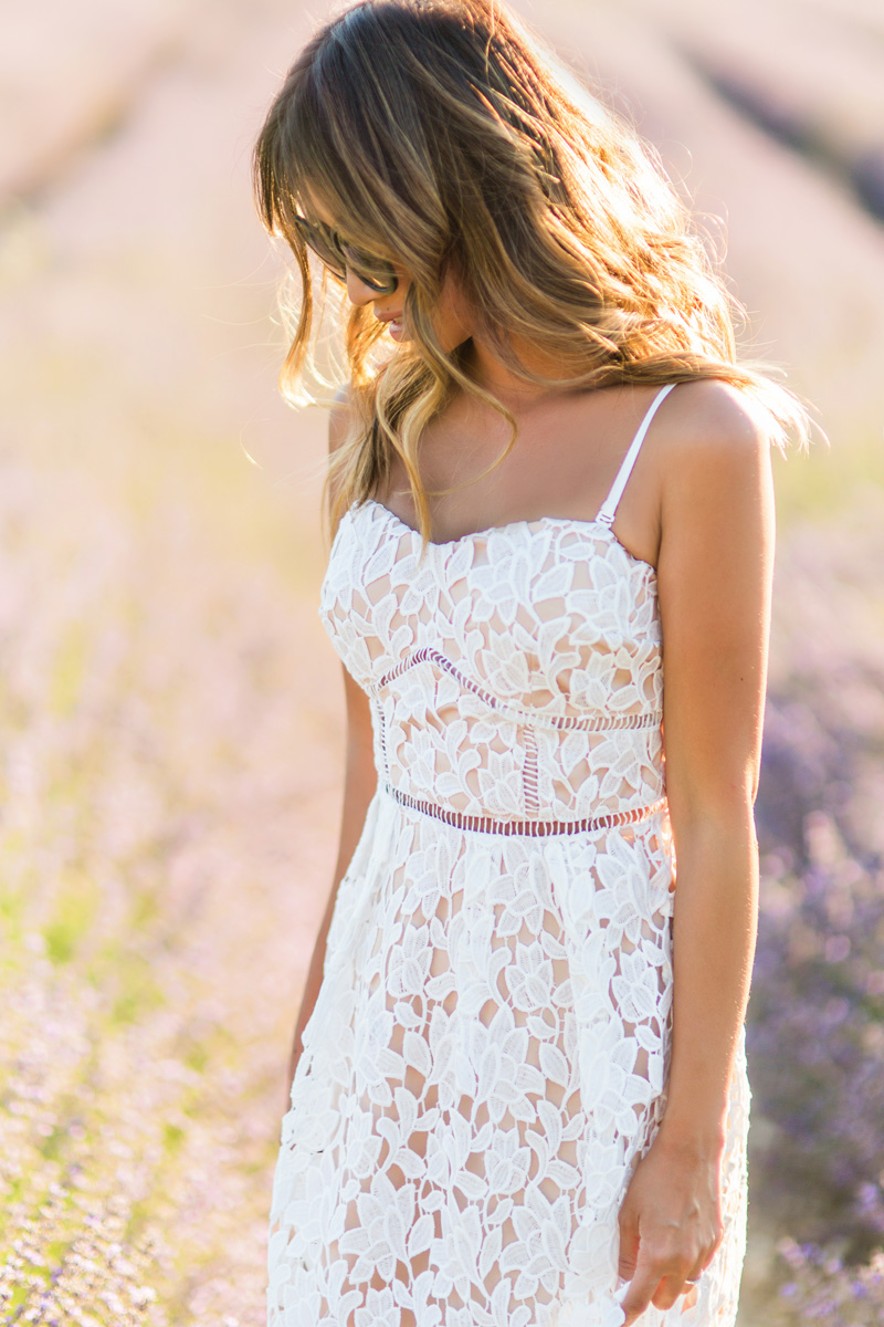 petite fashion blog, lace and locks, morning lavender dress, white lace midi dress, provence lavender fields, sault lavender, travel blogger, paris blogger
