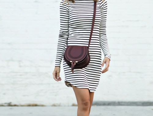 petite fashion blog, lace and locks, los angeles fashion blogger, oc fashion blogger, fall outfit, nordstrom fall fashion, stripe dress, burgundy booties